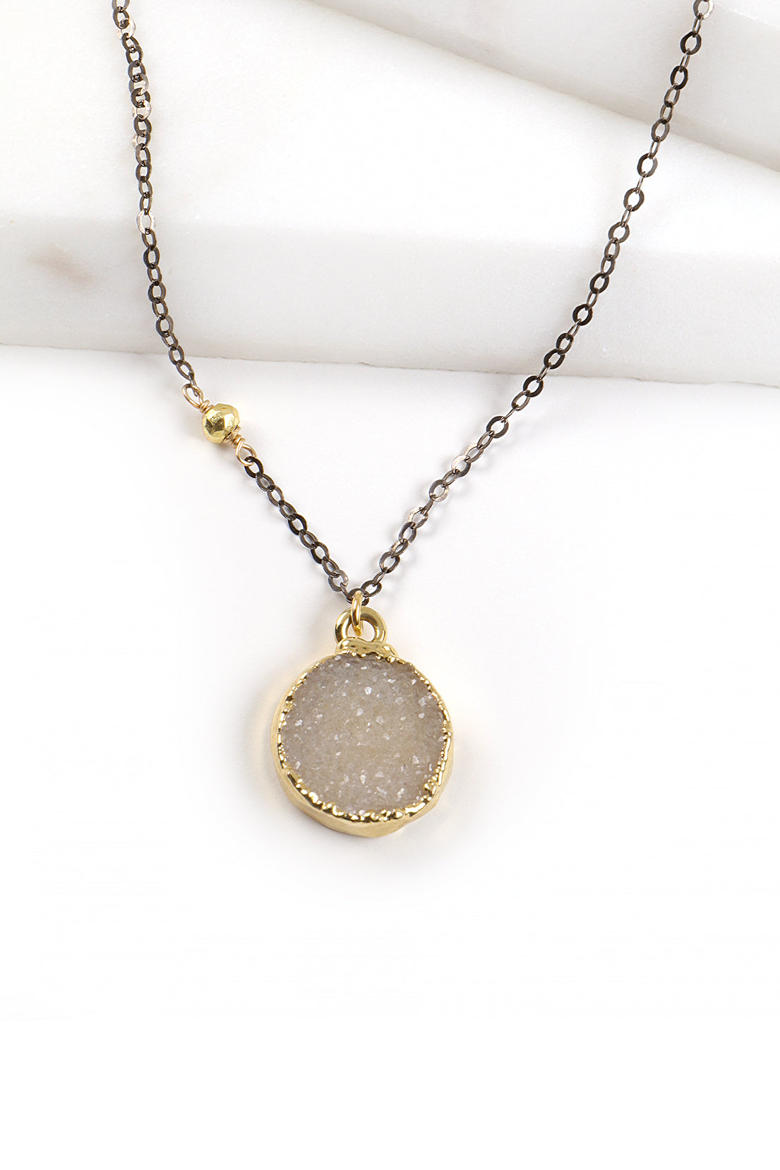 Round Druzy & Gunmetal Necklace