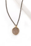 Petite Round Druzy & Blackened Silver Necklace