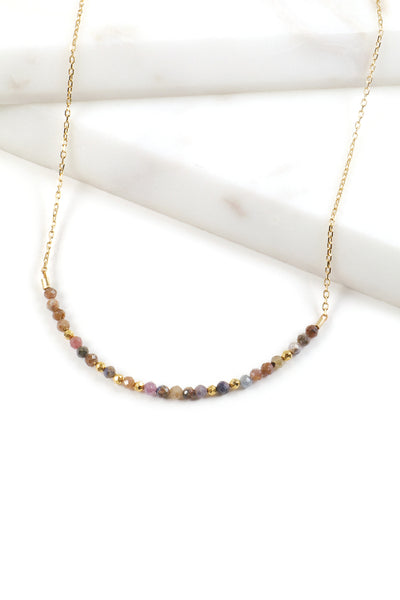 Ruby Sapphire Bar Necklace