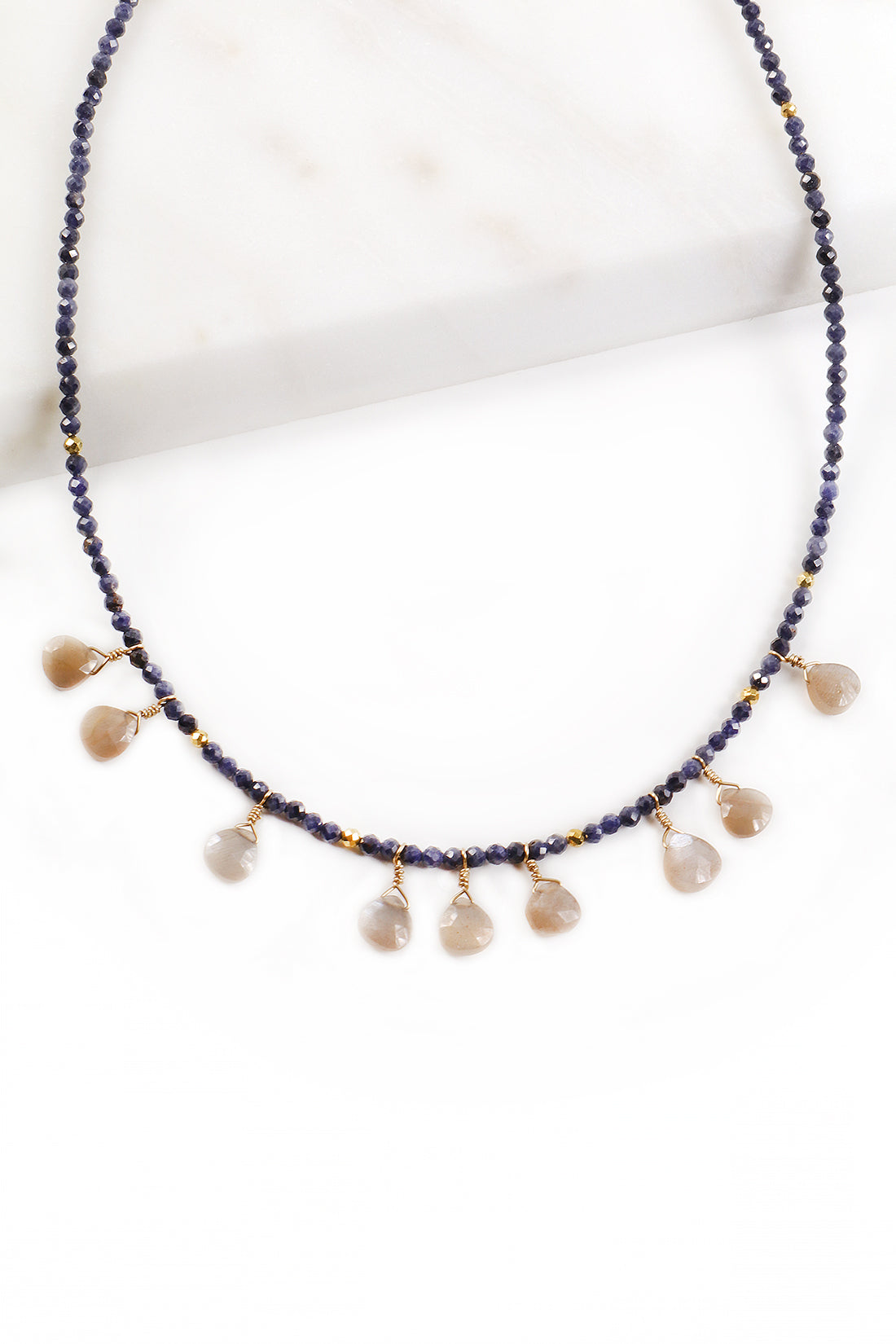 Sapphire Peach Moonstone Necklace