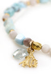 Larimar and Coral Charm Bracelet