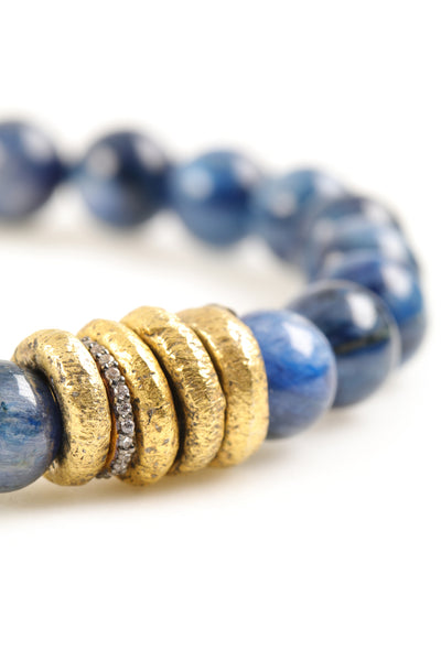 Kyanite Gold Rings Pavé Bracelet