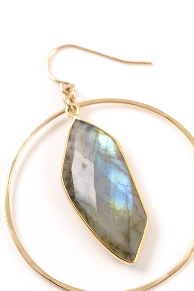 Labradorite and Hammered Hoop Earrings