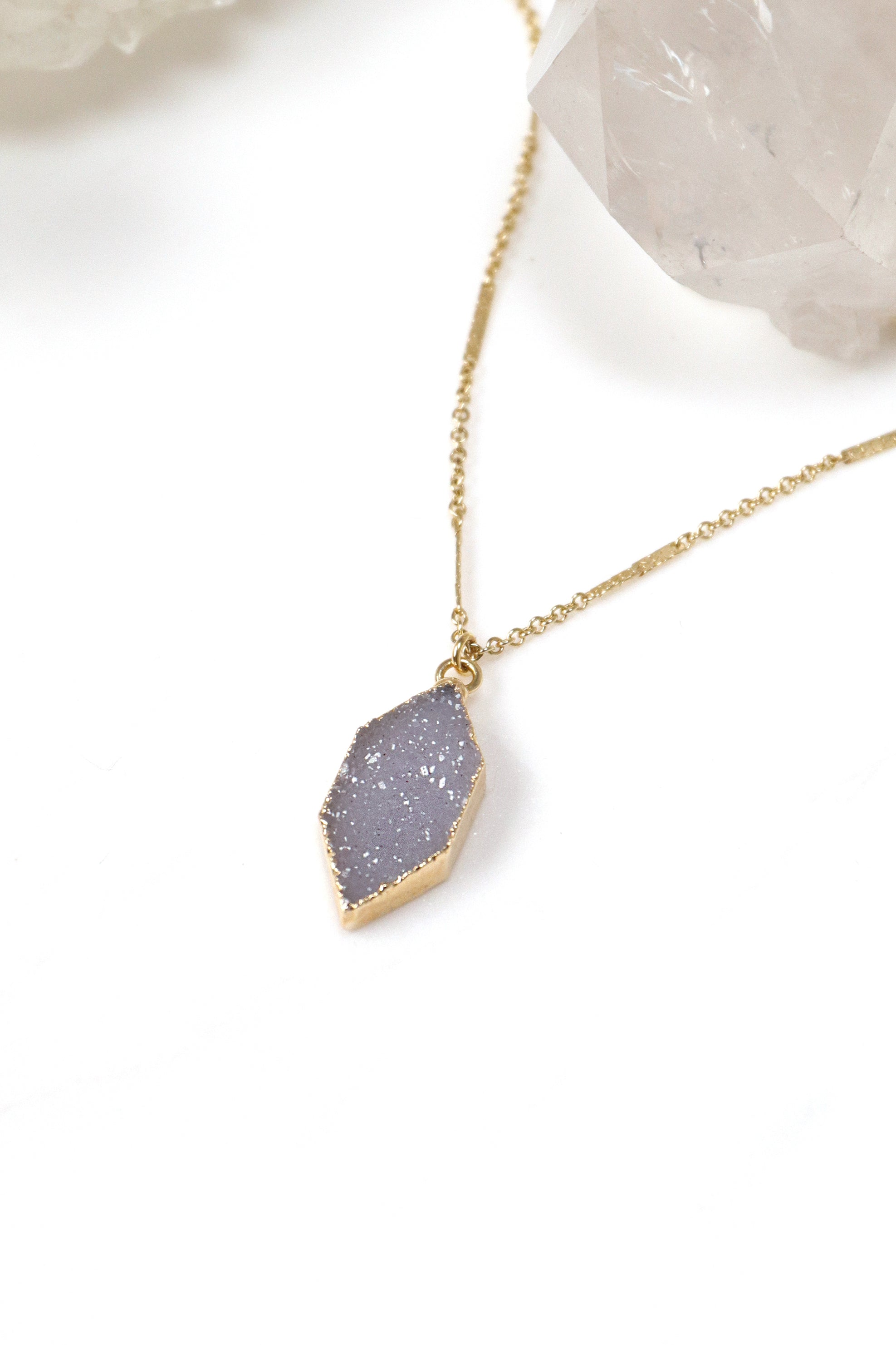 Harlequin Druzy Gold Necklace