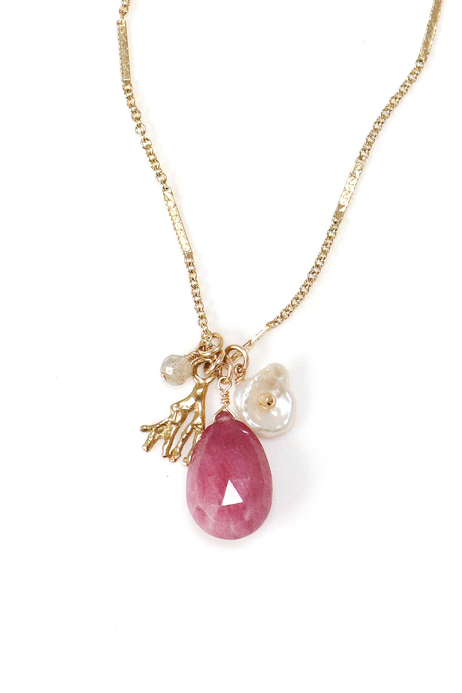 Pink Sapphire Charm Necklace