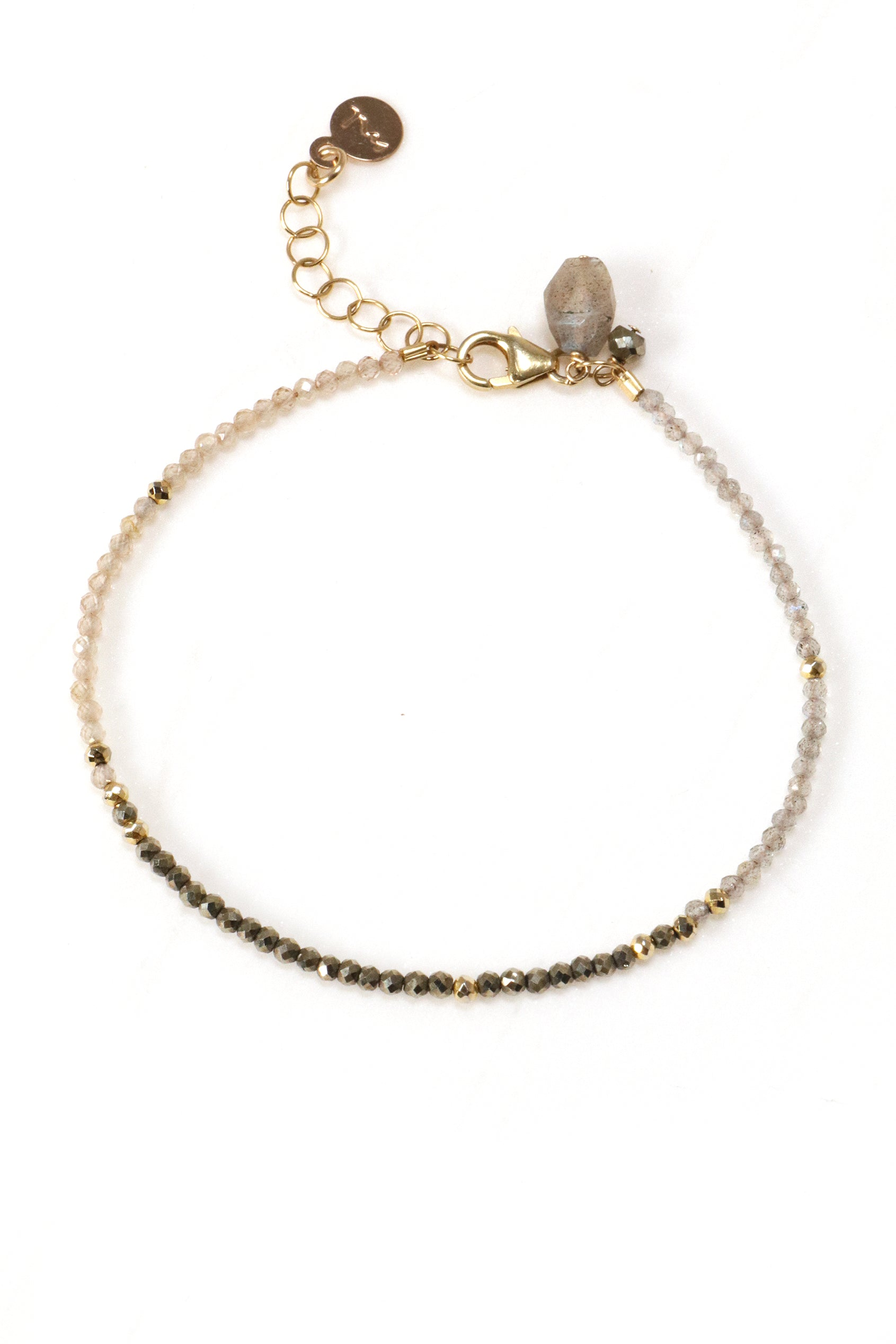 Labradorite, Pyrite and Zircon Bracelet