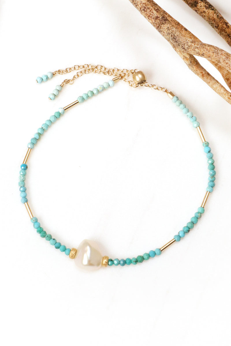 Turquoise Pearl Gold Bracelet