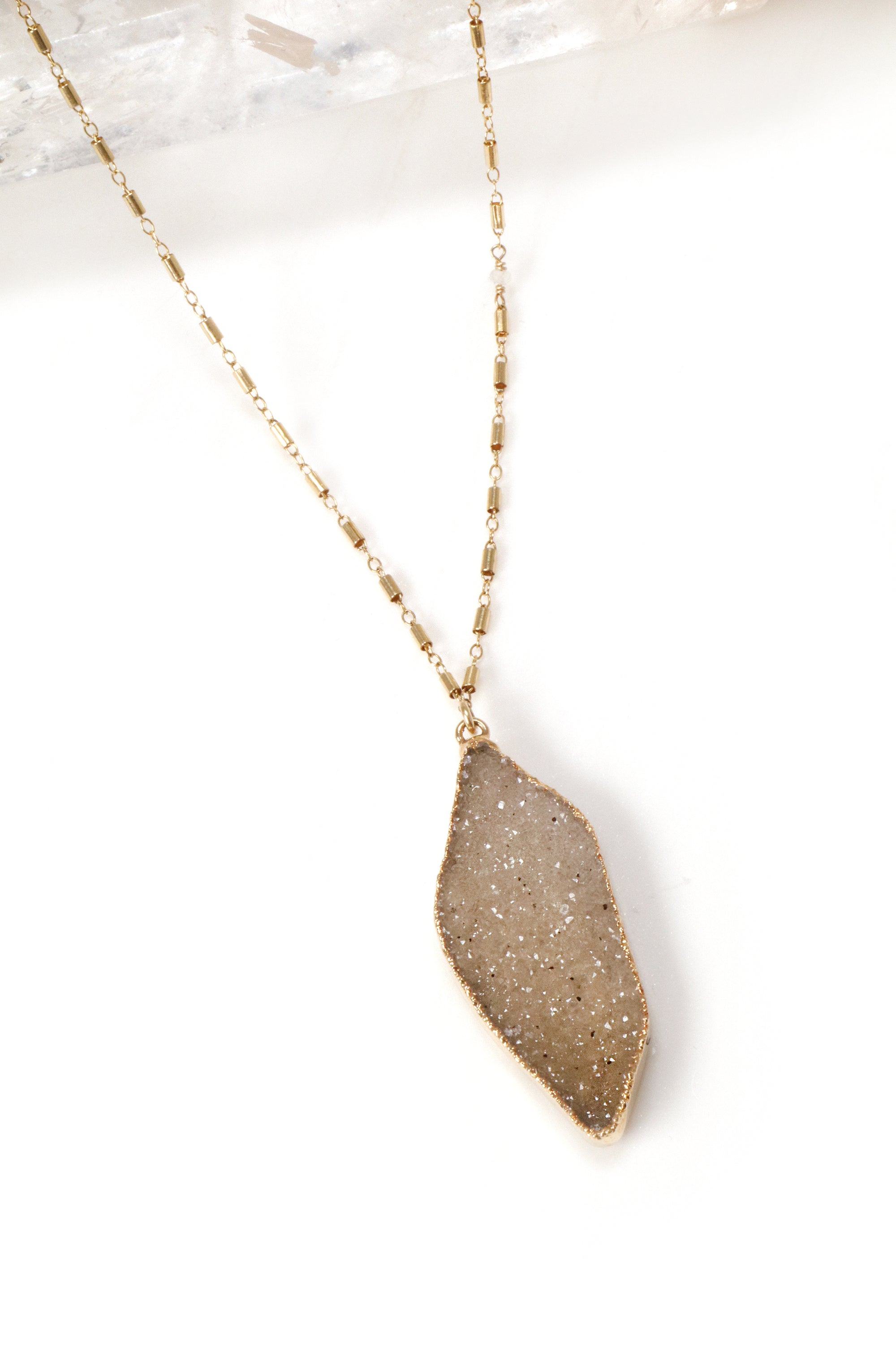 Large Palm Druzy Necklace
