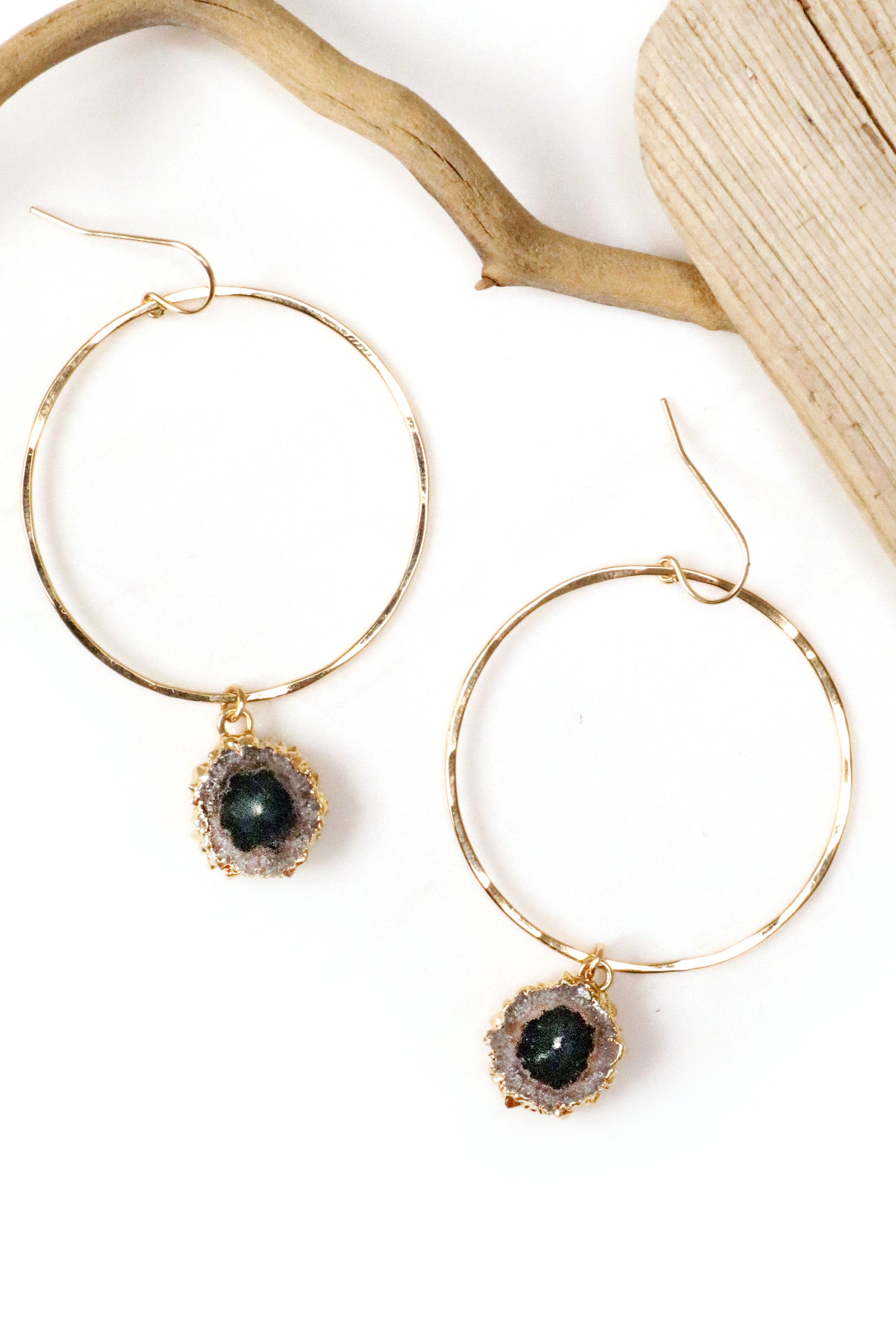 Stalactite Hammered Gold Hoop Earrings
