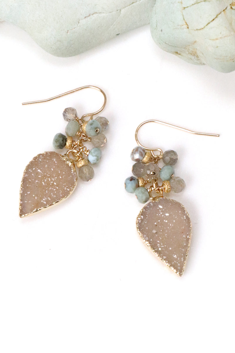 Larimar and Druzy Cluster Earrings