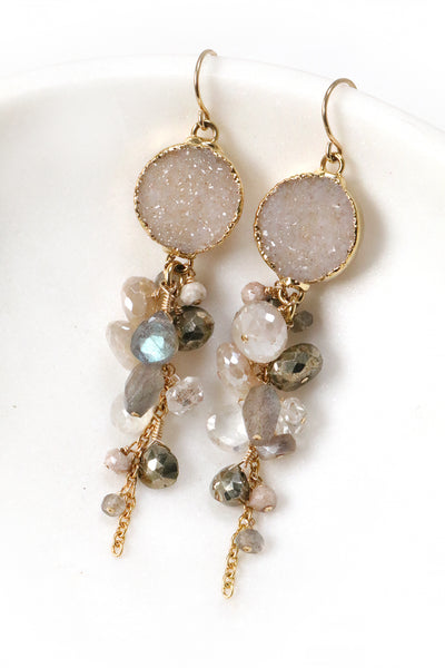 Gemstone and Druzy Cluster Earrings