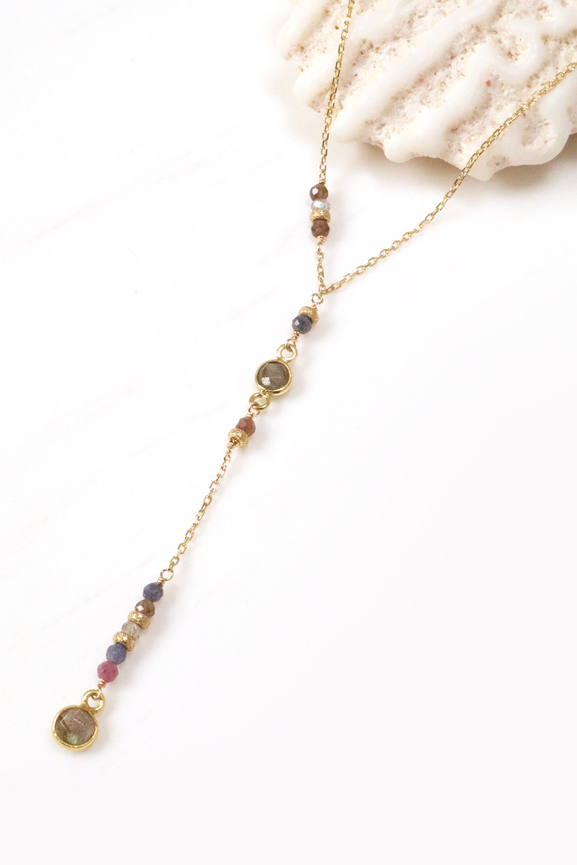 Ruby Sapphire Y Necklace