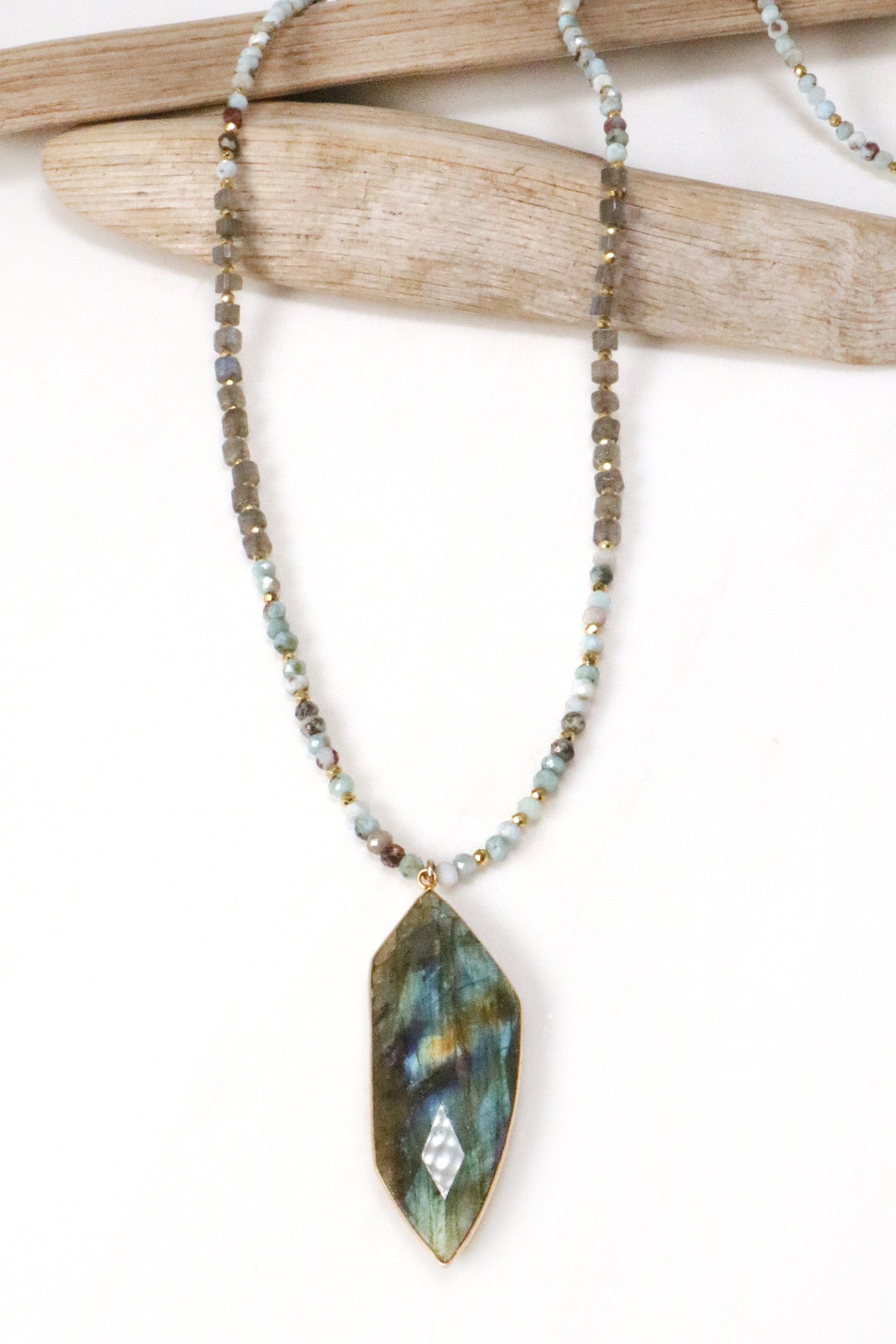 Larimar and Labradorite Palm Necklace
