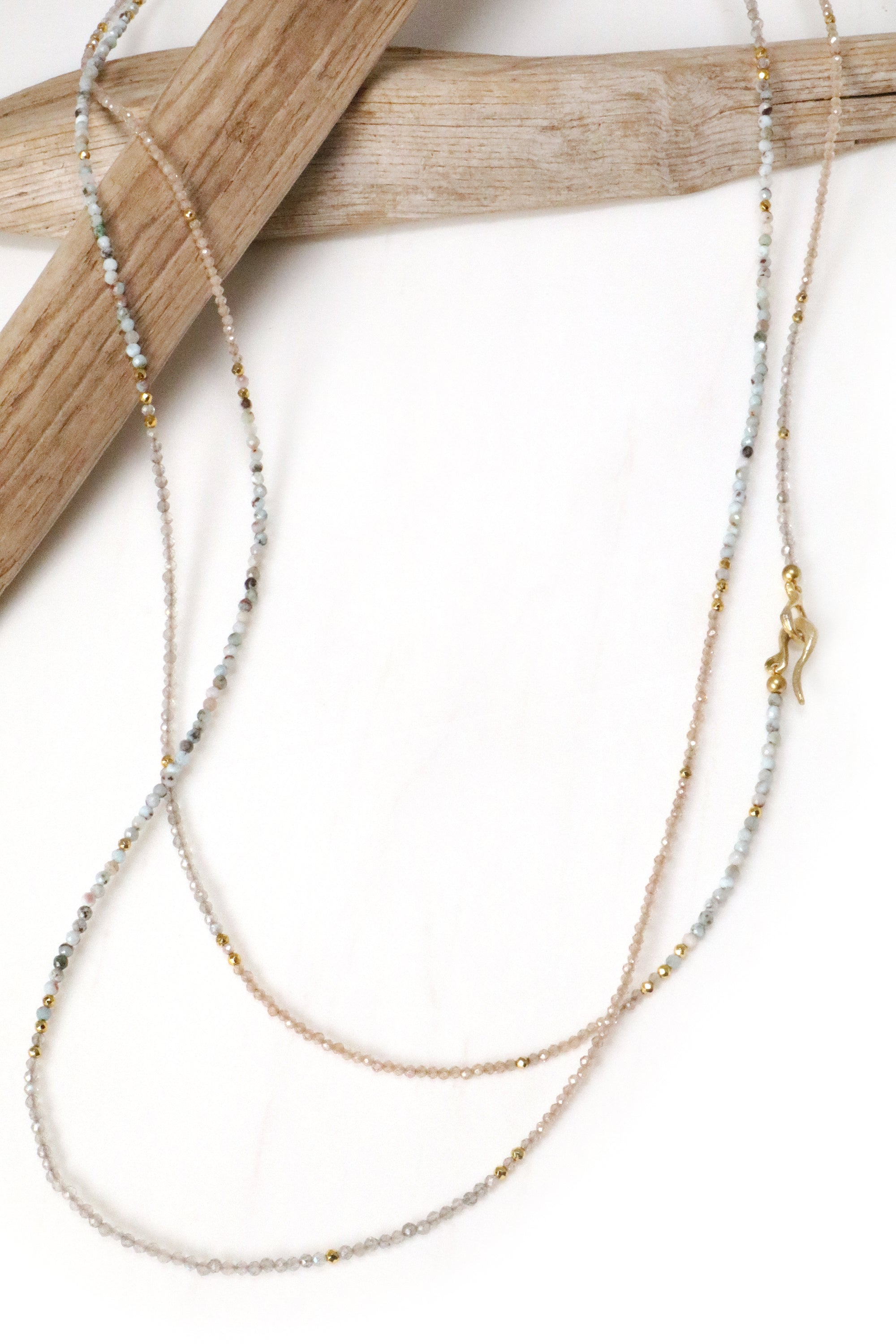 Larimar, Labradorite and Zircon Layering Necklace