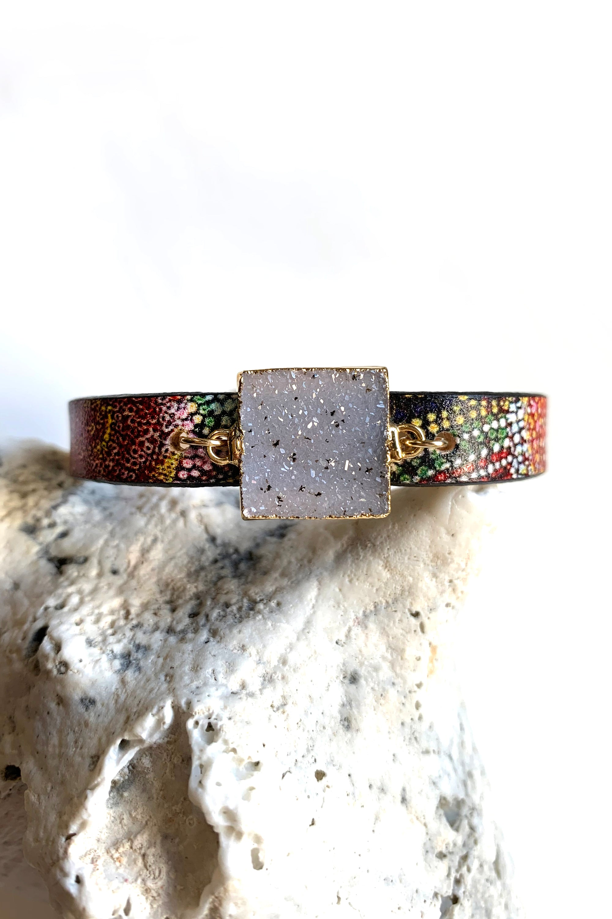 Millefiori Leather Druzy Cuff