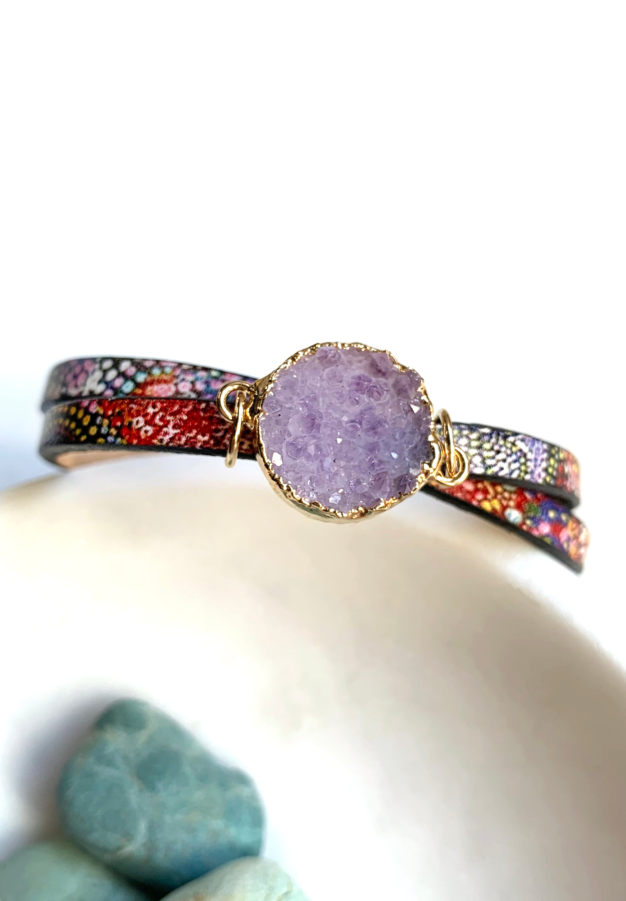 Millefiori Leather Druzy Bracelet