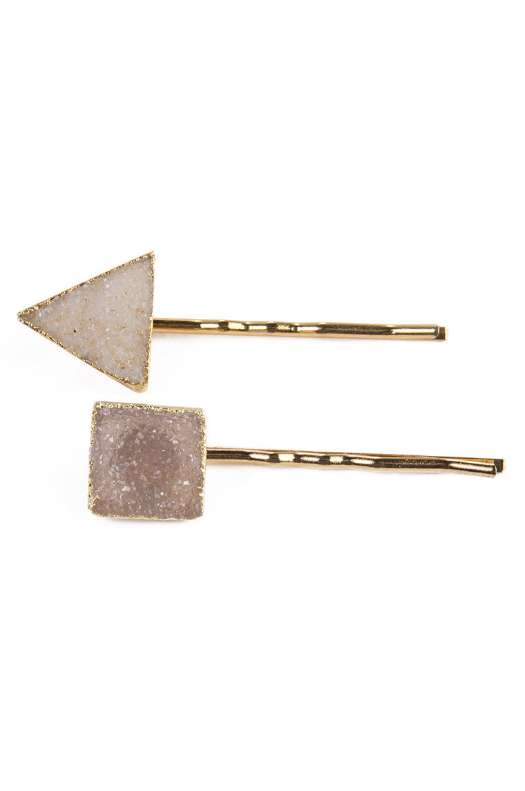 Geometric Druzy Hair Pin in Gold