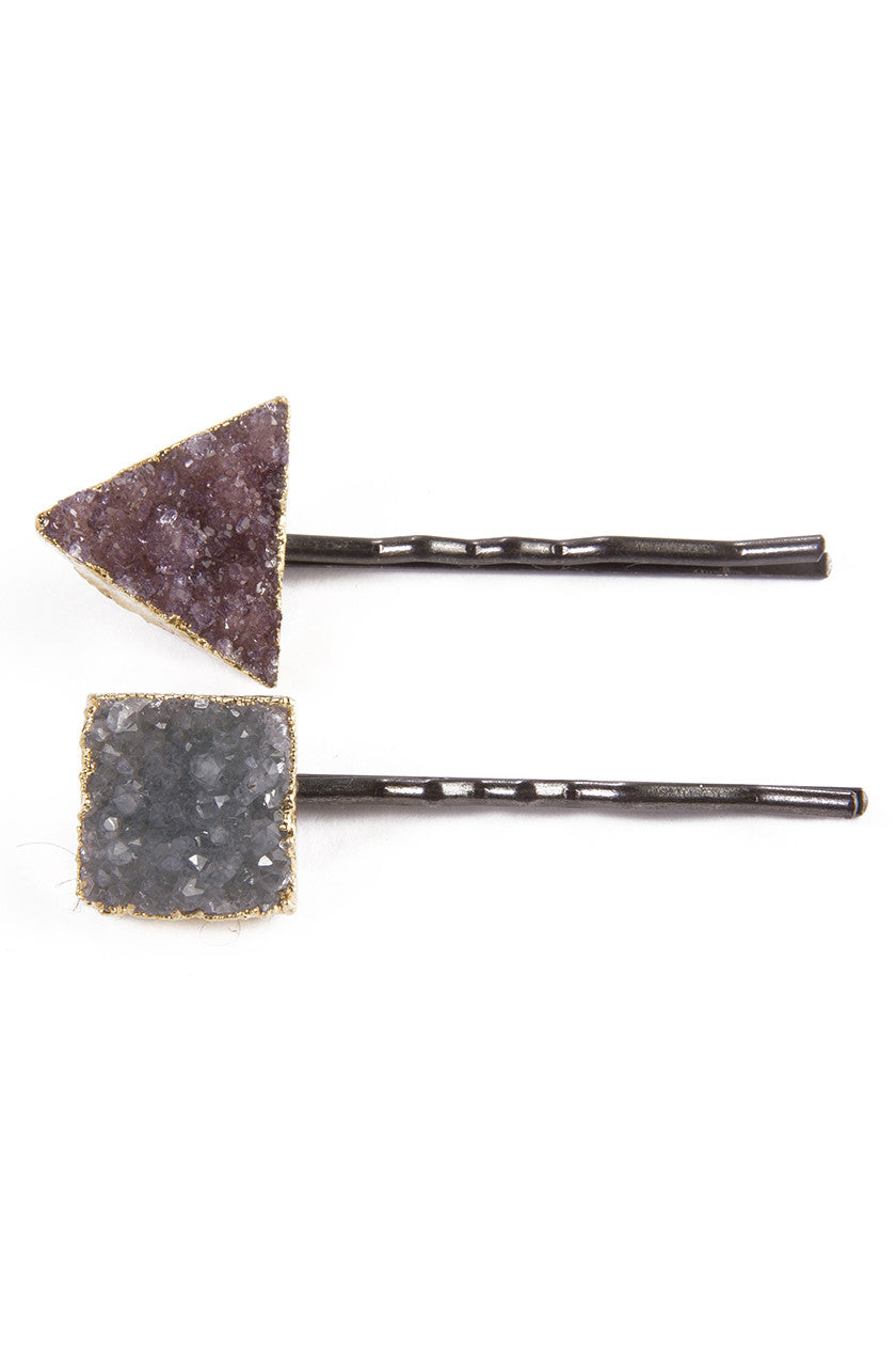 Geometric Druzy Hair Pin in Gunmetal
