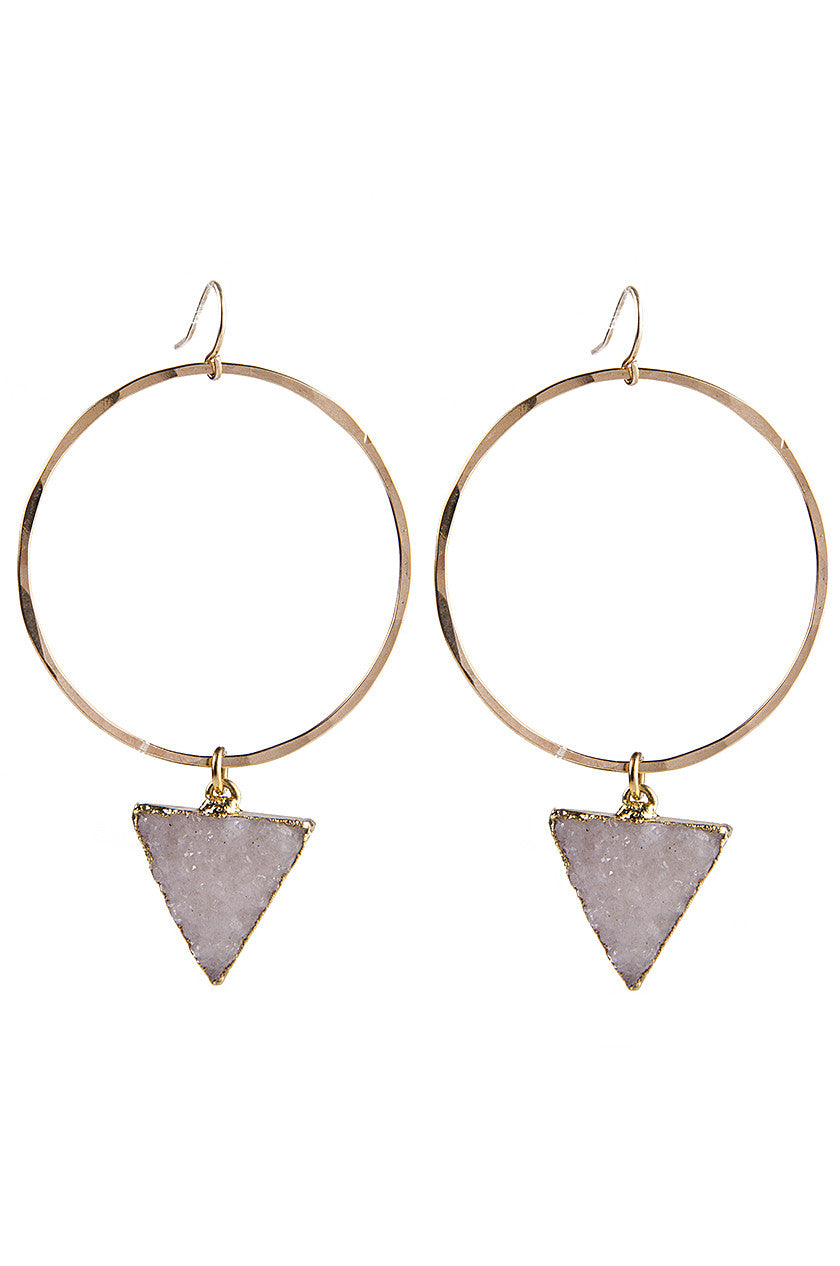 Hammered Hoops & Triangle Druzy Earrings