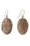 Oval Druzy Drop Earrings
