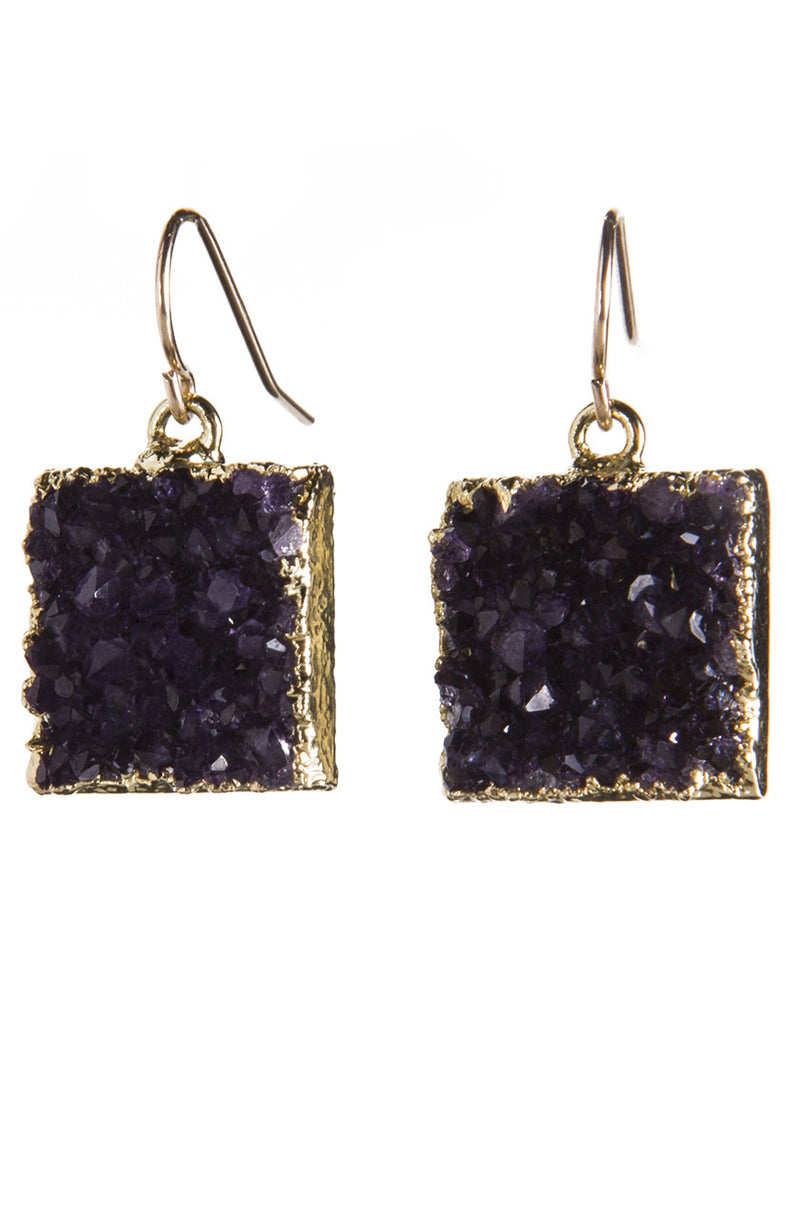 Square Druzy Earrings