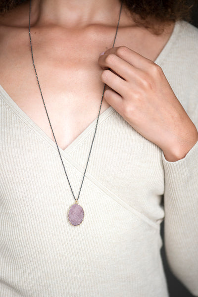 Druzy and Gunmetal Layering Necklace