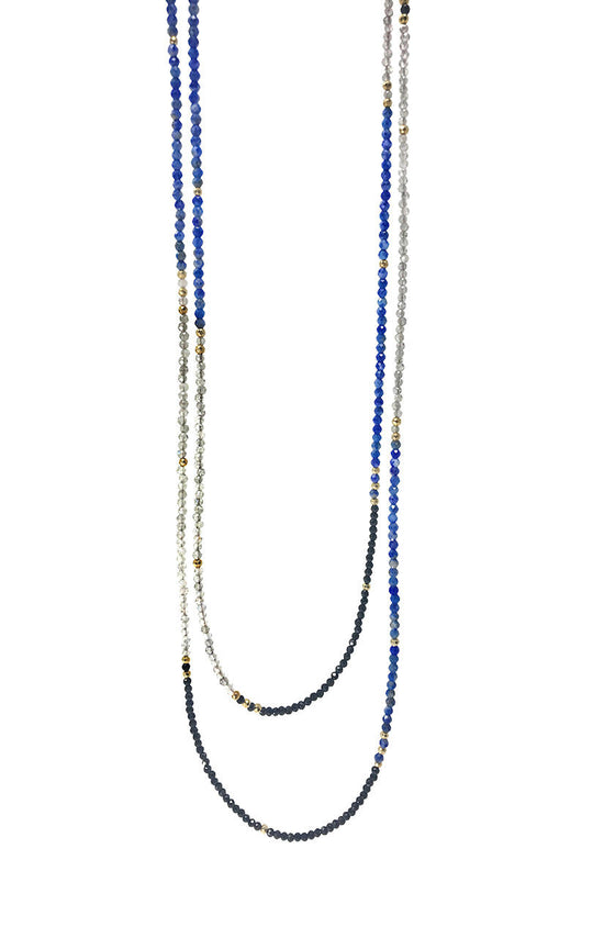 Labradorite, Lapis and Black Spinel Layering Necklace