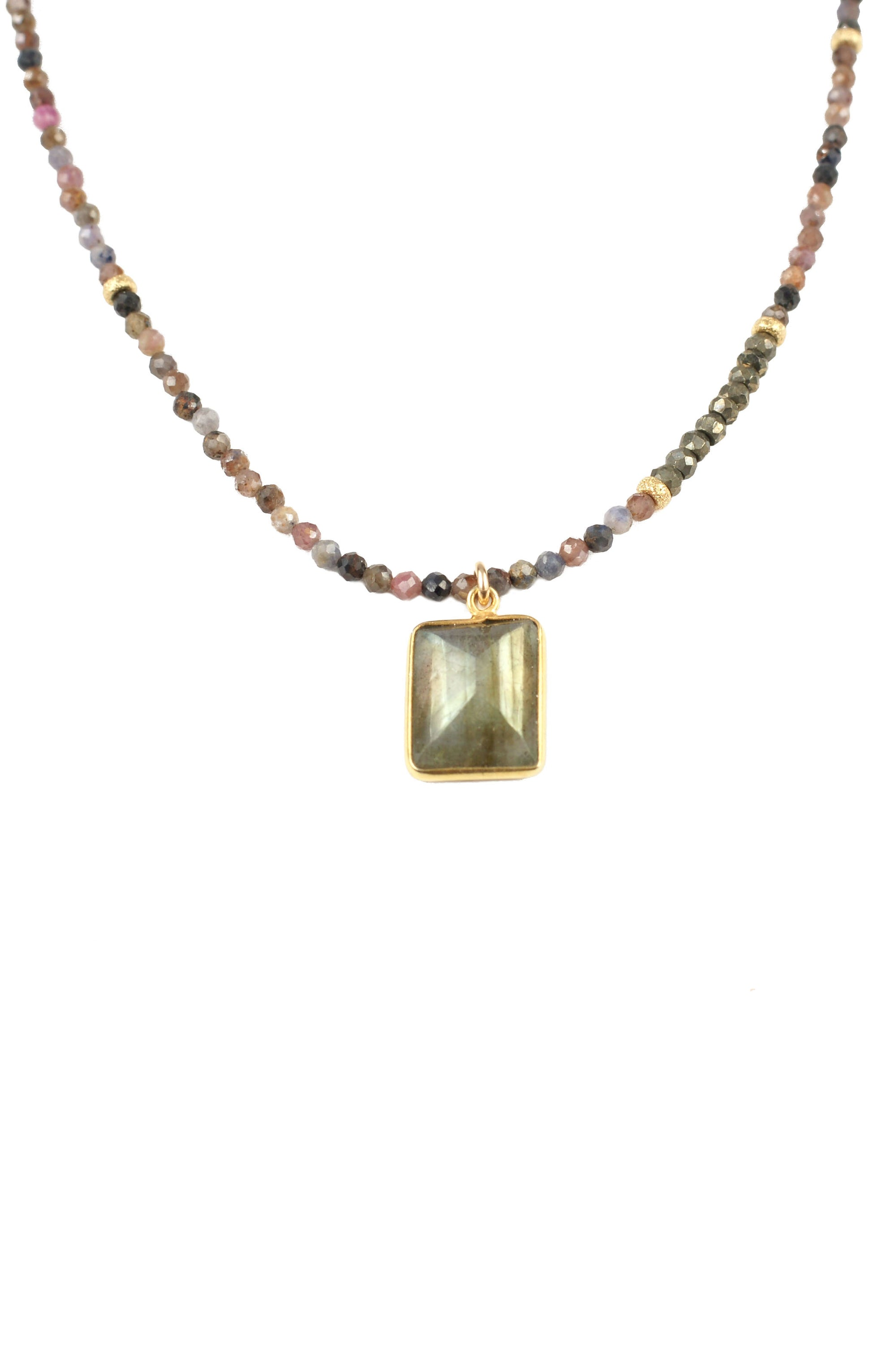 Ruby Sapphire Labradorite Necklace