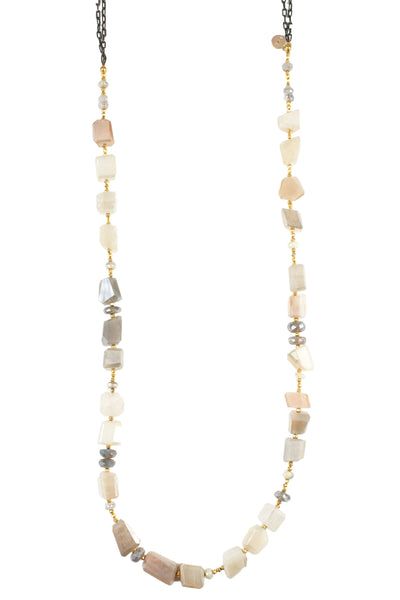 Peach and Grey Moonstone Necklace