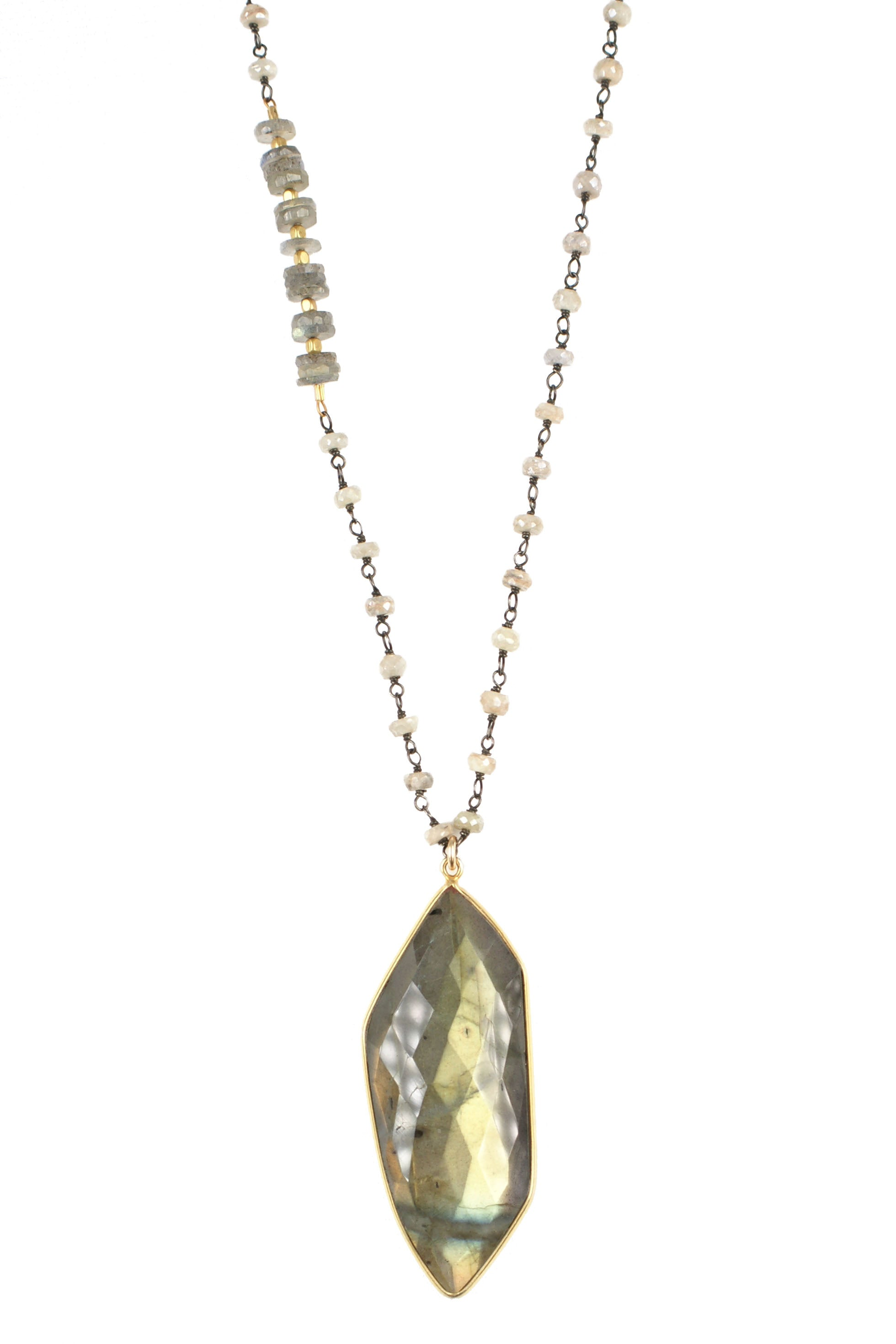 Silverite and Labradorite Necklace