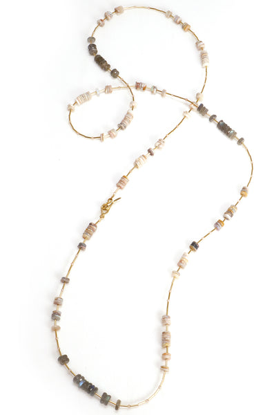 Labradorite and Opal Layering Necklace
