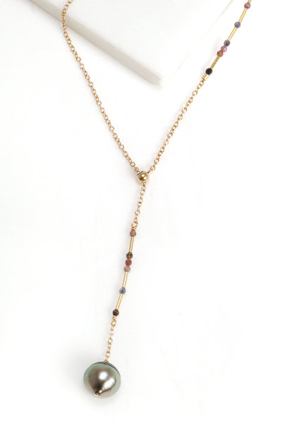 Ruby and Sapphire Y-Necklace