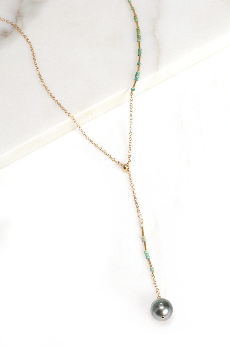 Turquoise and Pearl Y-Necklace