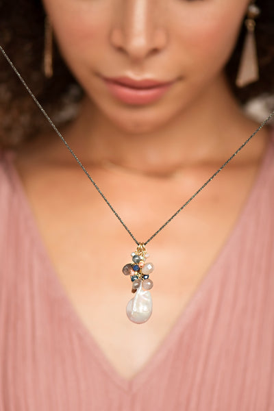 Baroque Pearl Cluster Necklace