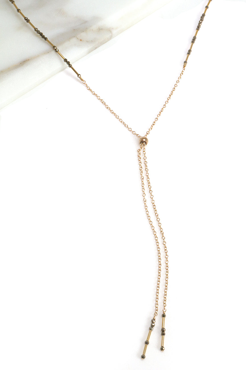 Pyrite Lariat Necklace
