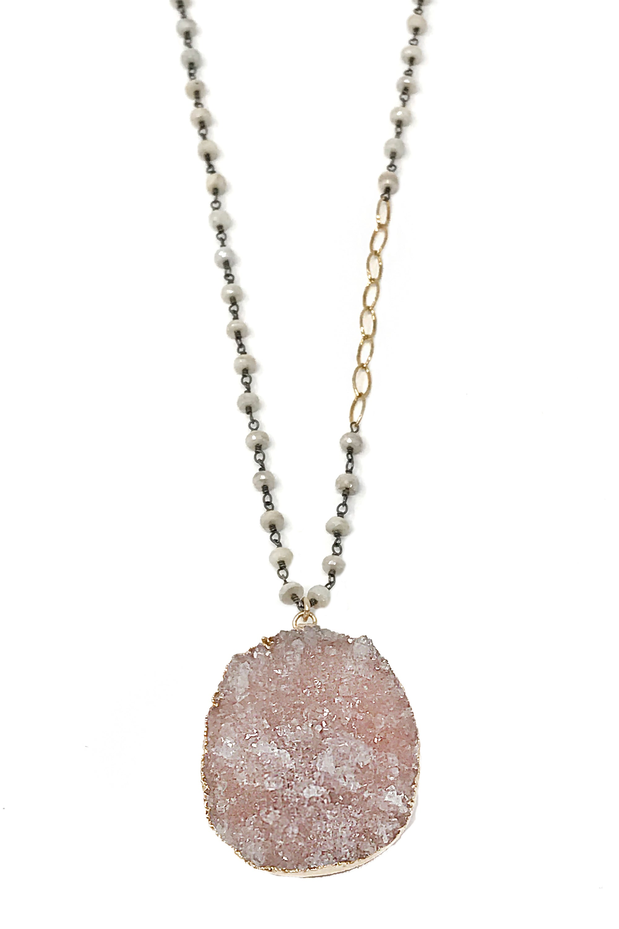 Silverite and Druzy Necklace