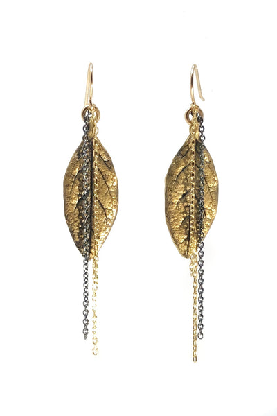 Leaf and Hanging Chains Earrings