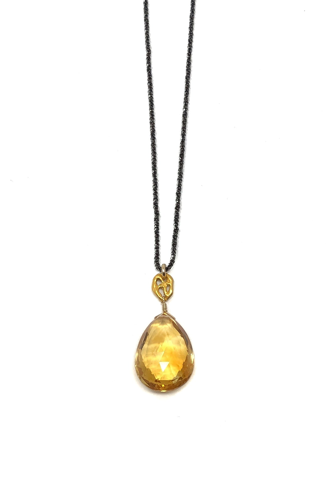 Gunmetal and Citrine Pendant Necklace