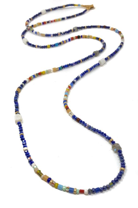Lapis and African Glass Layering Necklace