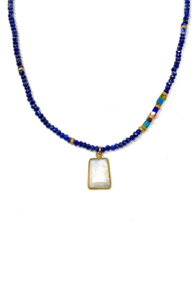 Lapis and African Glass with Moonstone Pendant