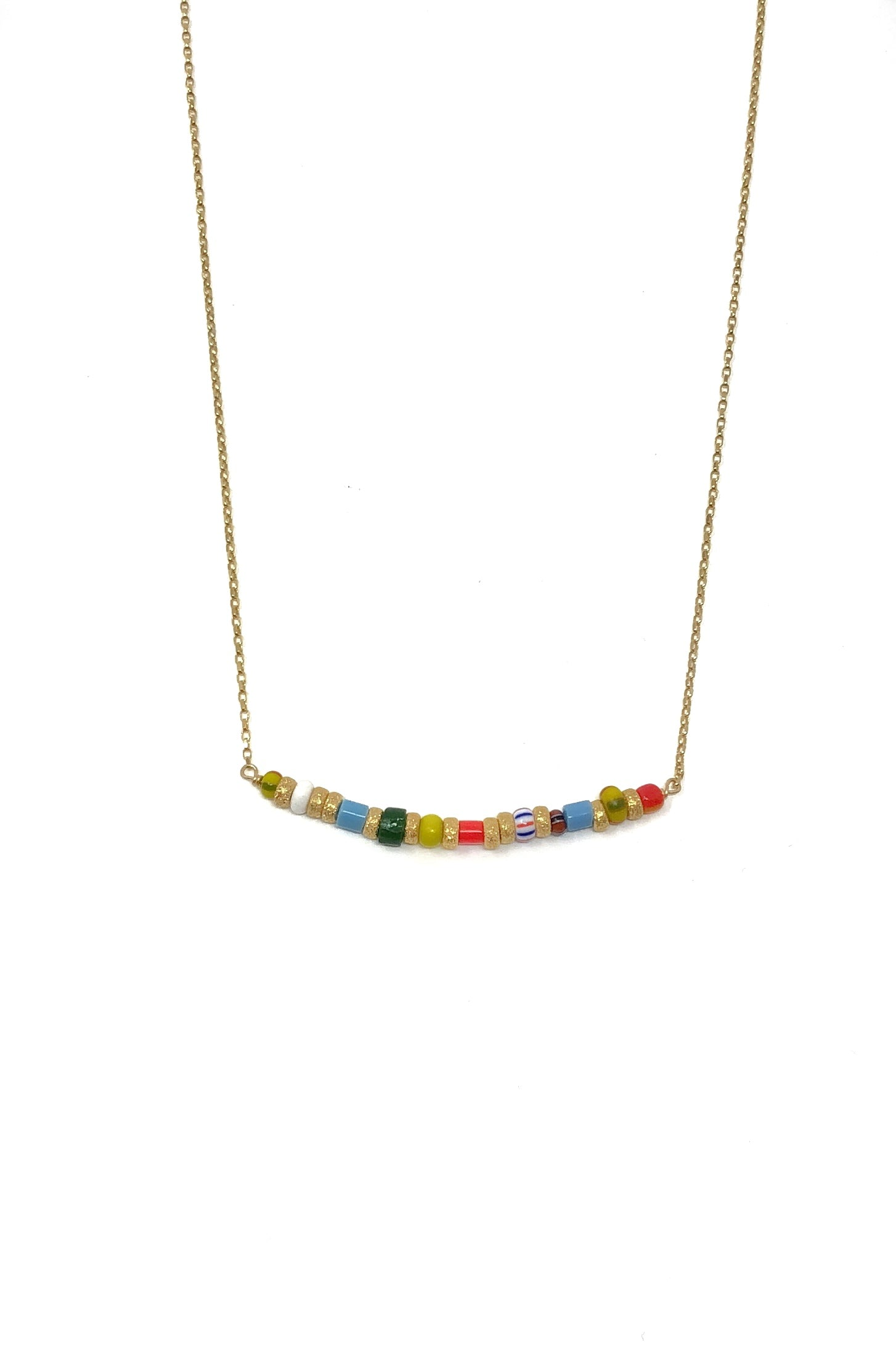 African Glass Bar Necklace