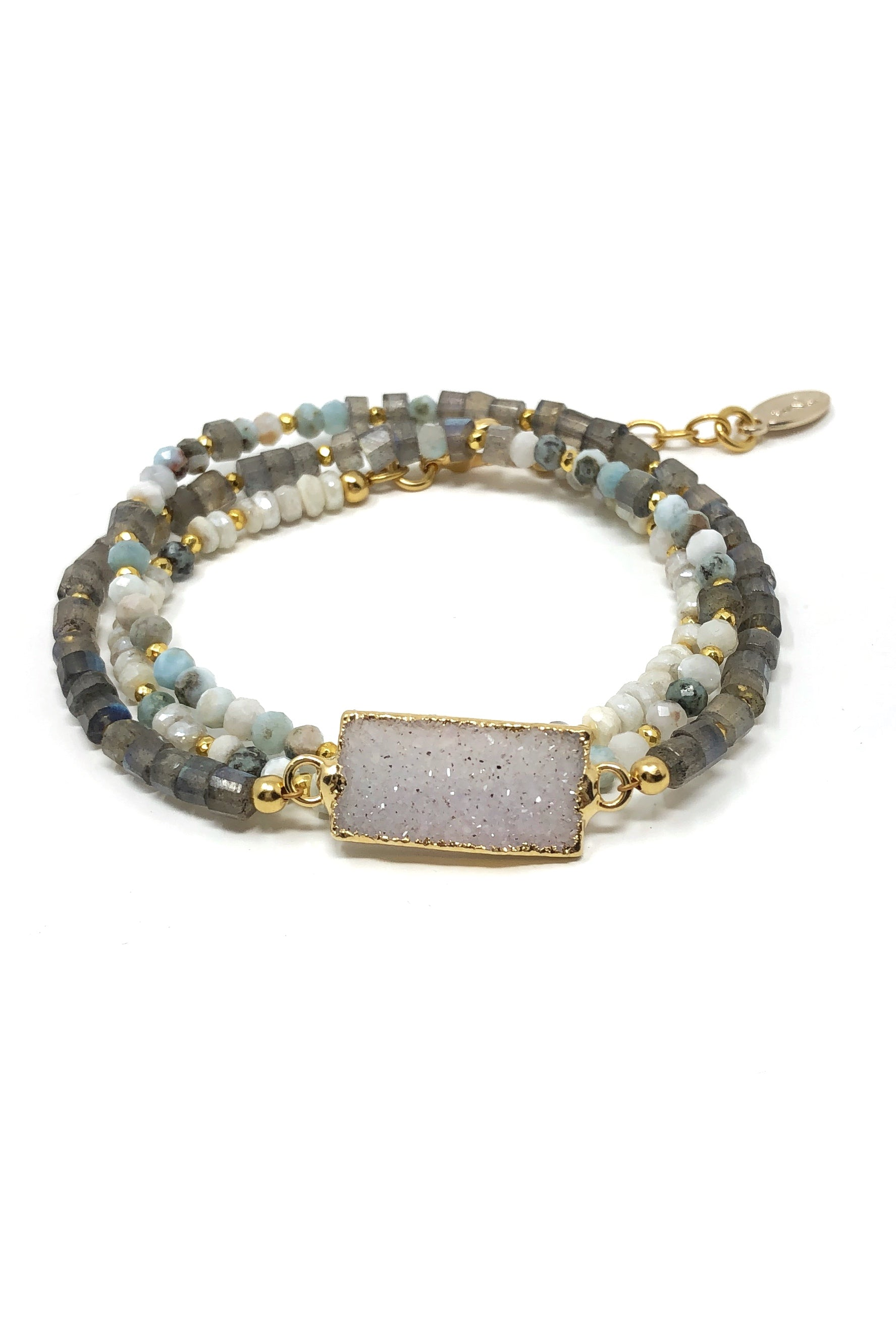 Labradorite and Larimar with Druzy Wrap Bracelet