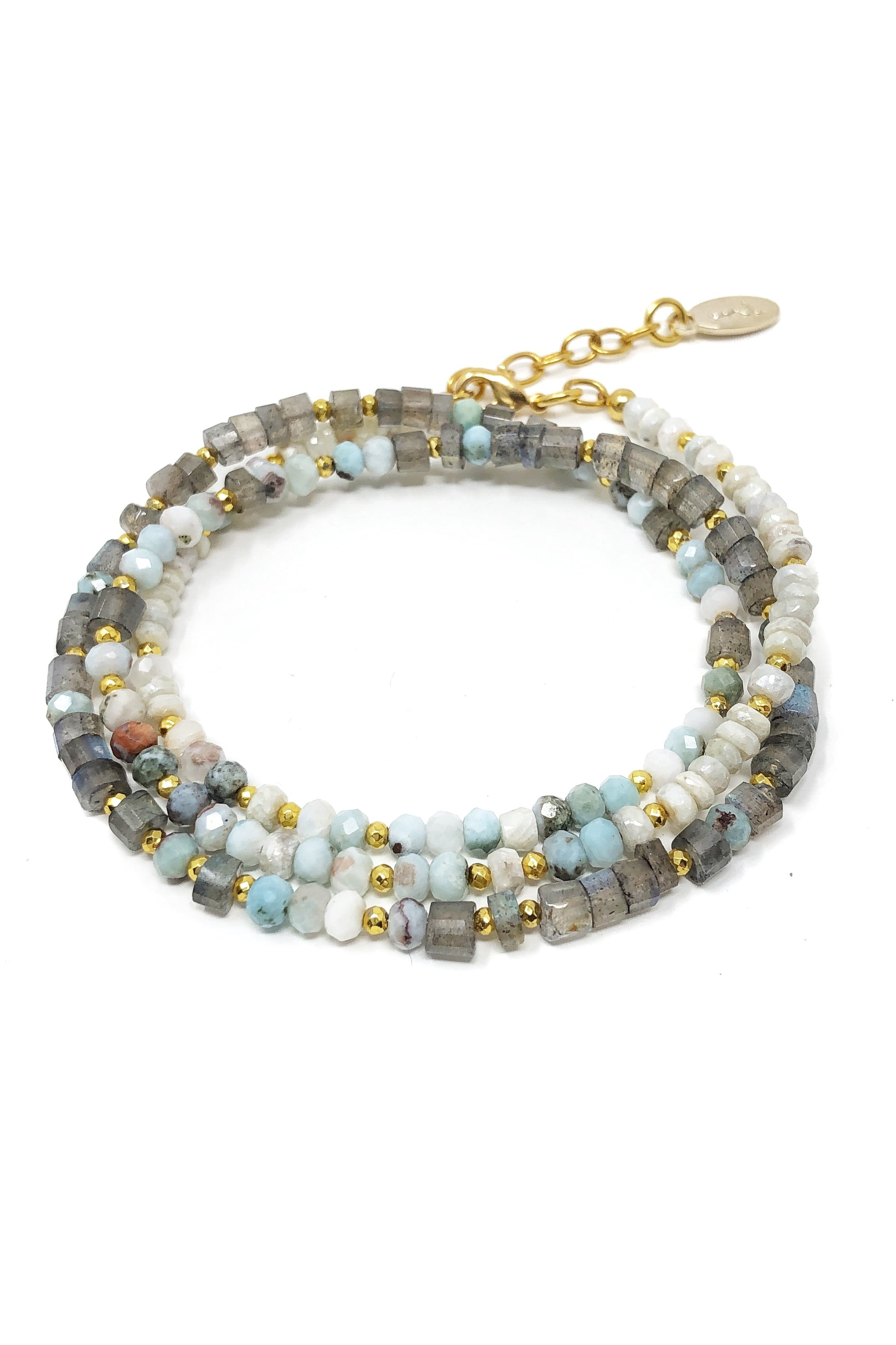 Labradorite and Larimar Wrap Bracelet