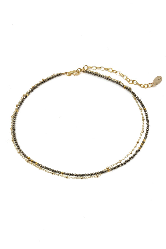 Pyrite and Gold Chain Choker Necklace