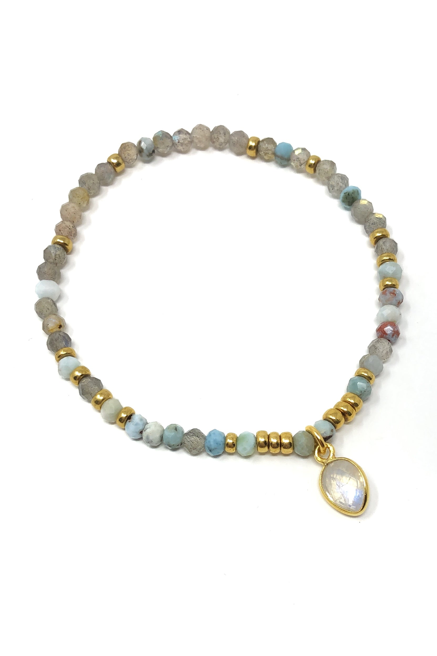 Larimar and Labradorite with Moonstone Charm Bracelet