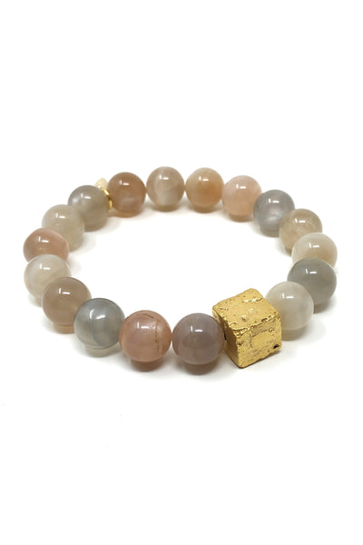 Peach Moonstone and Gold Bracelet