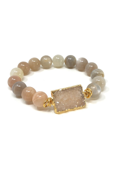 Peach Moonstone and Druzy Bracelet