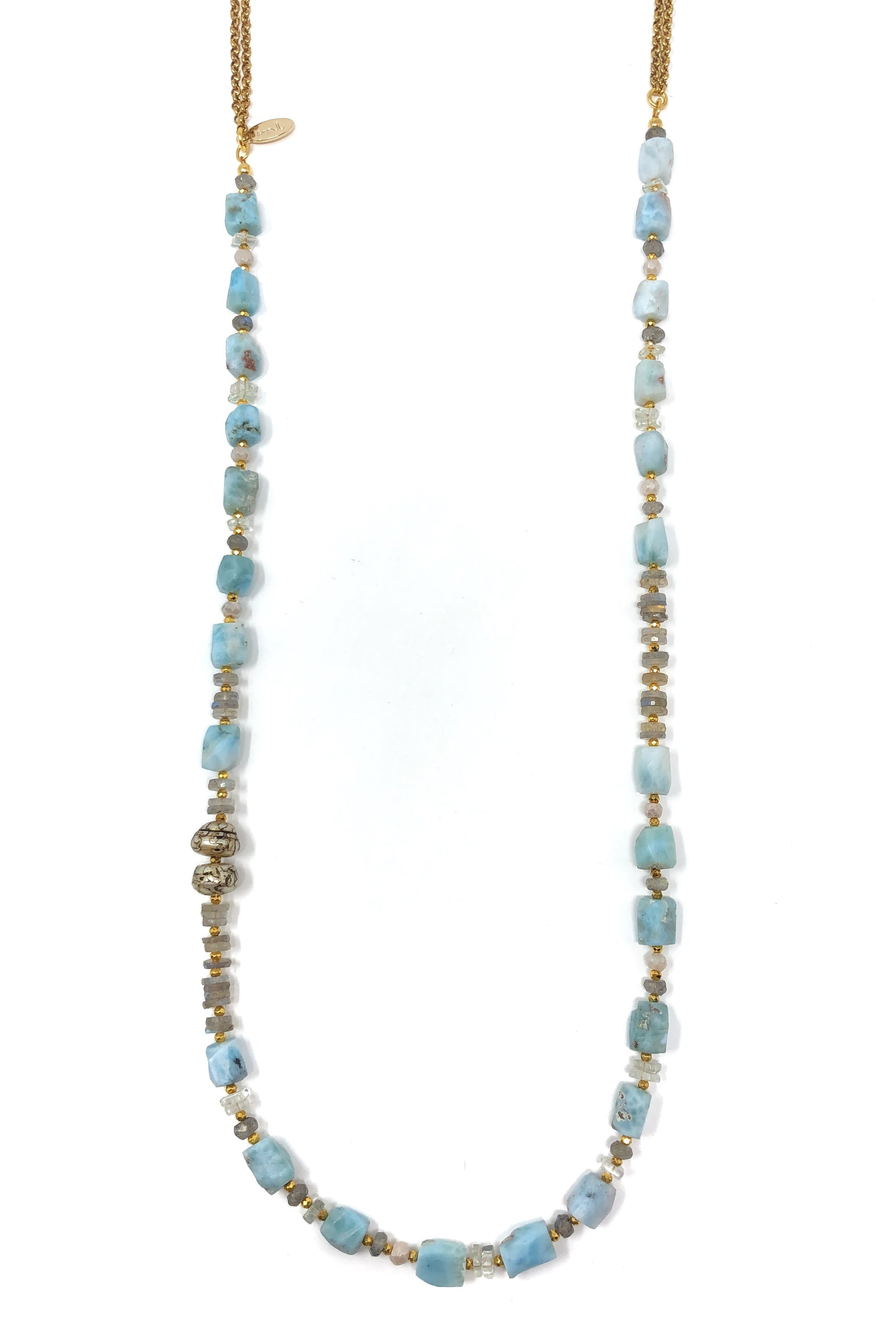 Larimar Nugget Layering Necklace