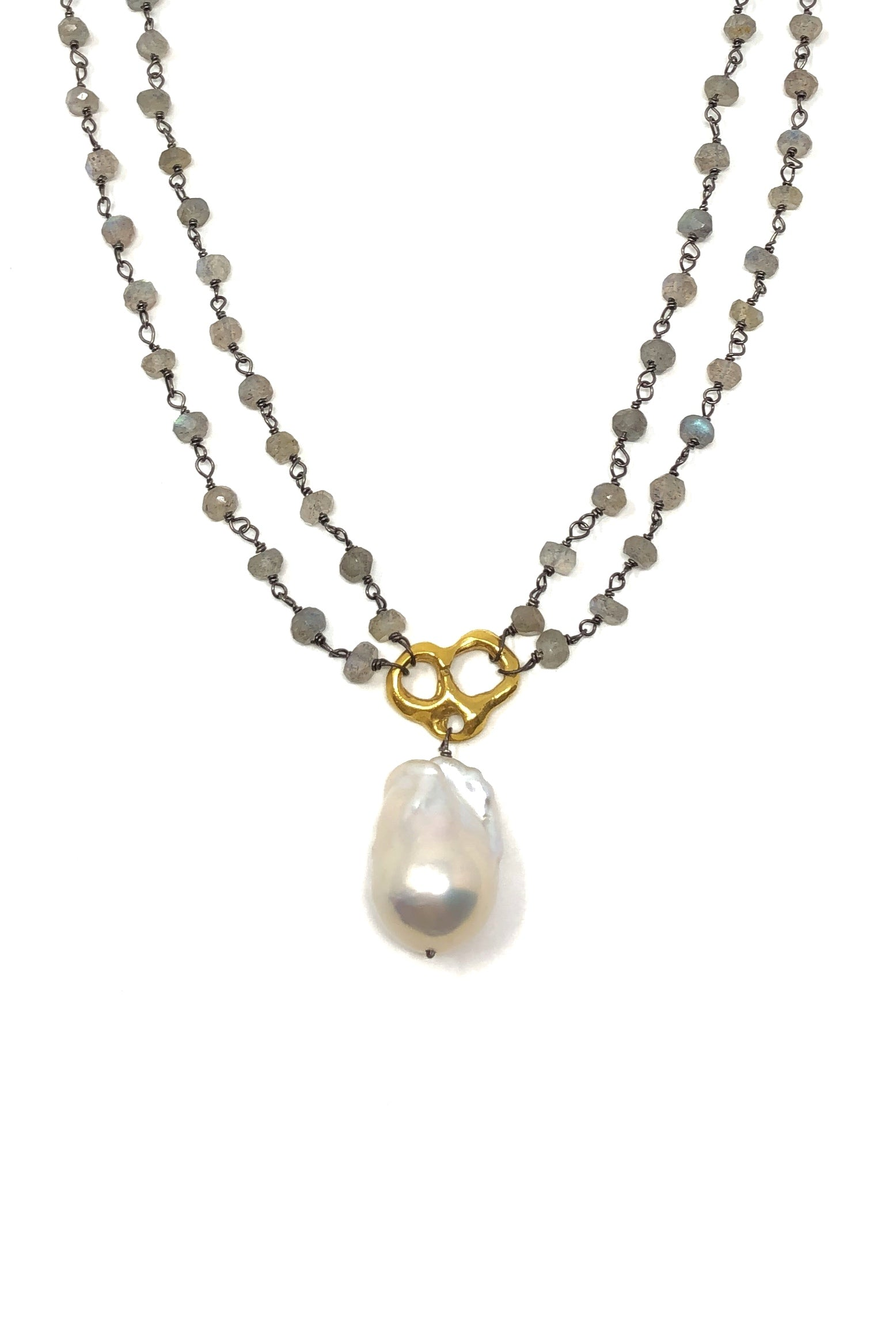 Labradorite and Baroque Pearl Statement Necklace