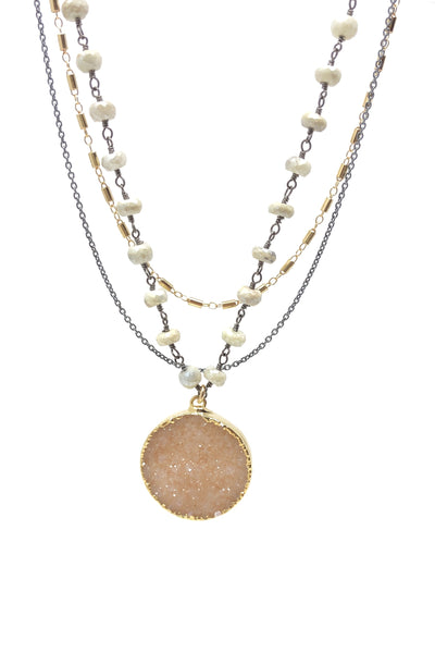 Silverite, Druzy and Mixed Metal Statement Necklace